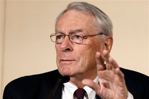Canadian Richard Pound, Chairman of WADA's (World Anti-Doping Agency) Independent Commission (IC), presents the findings of his Commission's Report surrounding allegations of doping in sport, during a press conference, in Geneva, Switzerland, Monday, Nov.
