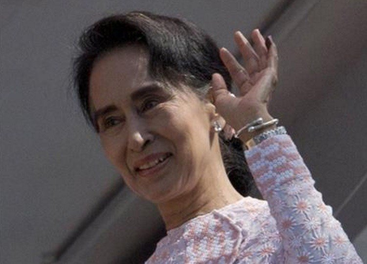 Suu Kyi on Monday hinted at a victory by her party in the country's historic elections, and urged supporters not to provoke their losing rivals who are backed by the military. (AP Photo/Gemunu Amarasinghe)