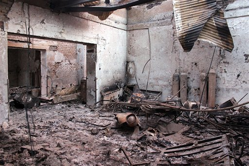 In this Oct. 16, 2015 file photo, the charred remains of the Doctors Without Borders hospital is seen after being hit by a U.S. airstrike in Kunduz, Afghanistan. Immediately after the U.S. killed at least 30 people in a devastating airstrike on a charity