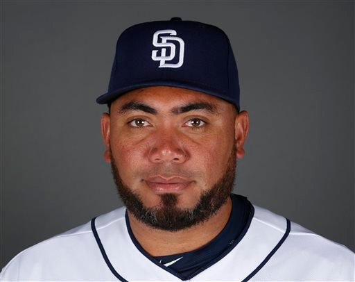 This 2015 file photo shows Joaquin Benoit of the San Diego Padres baseball team.
