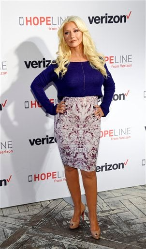 Christina Aguilera poses at an event supporting HopeLine From Verizon, a new campaign supporting domestic violence prevention and awareness, at The London Hotel on Thursday, Nov. 12, 2015, in West Hollywood, Calif.