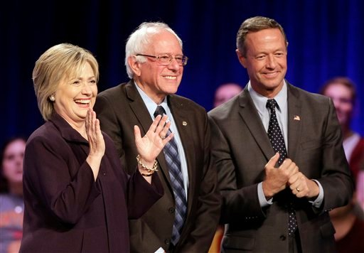 Nov. 6, 2015: Democratic presidential candidates Hillary Rodham Clinton, Sen. Bernie Sanders, I-Vt., fmr Maryland Gov. Martin O'Malley, after a Democratic presidential candidate forum at Winthrop University in Rock Hill, S.C.(AP Photo/Chuck Burton, File)