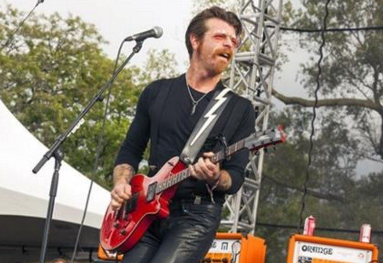 Jesse Hughes of Eagles of Death Metal performs at Riot Fest & Carnival in Douglas Park in Chicago. Hughes was scheduled to perform, Friday, Nov. 13, 2015, with the band at the Bataclan concert hall in Paris where patrons were taken hostage. (AP)