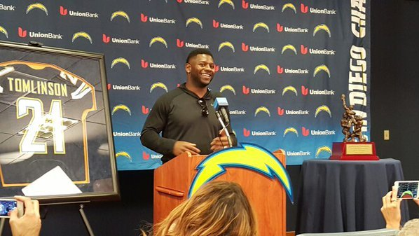 LaDainian Tomlinson meets with the media Friday, November 20, 2015. The Chargers will retire his Number 21 Sunday, November 22, 2015.