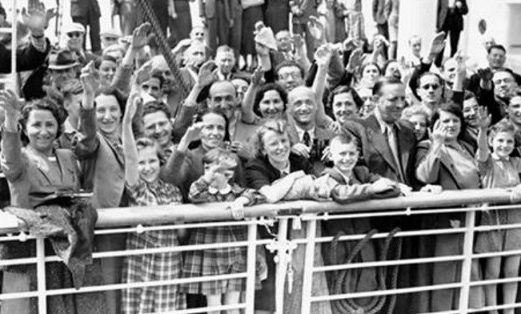 In this June 17, 1939 file photo, German Jewish refugees return to Antwerp, Belgium, aboard the St. Louis after they had been denied entrance to Cuba and the United States.   AP