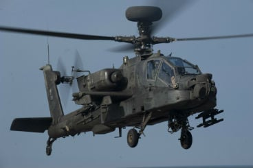 This is a stock photo of the AH-64 Apache helicopter.