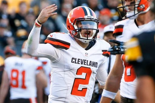 In this Nov. 15, 2015, file photo, Cleveland Browns quarterback Johnny Manziel (2) plays during an NFL football game against the Pittsburgh Steelers, in Pittsburgh. Browns coach Mike Pettine says he benched Johnny Manziel because the quarterback violated