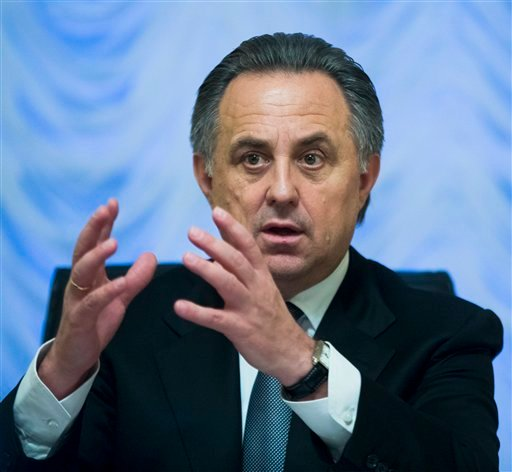 "Russian Sports Minister Vitaly Mutko gestures speaking at his meeting with the media in Moscow, Russia, Friday, Nov. 13, 2015. In an effort to avoid a ban from track and field, Russia offered ""broad cooperation"" on doping reforms on Friday, including the"