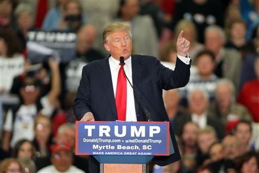 FILE - In this file photo taken on Nov. 24, 2015, Republican presidential candidate Donald Trump speaks during a campaign event at the Myrtle Beach Convention Center in Myrtle Beach, S.C.