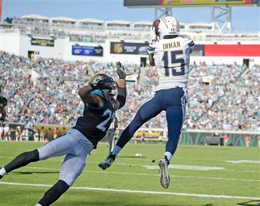 San Diego Chargers wide receiver Dontrelle Inman (15) catches a pass against Jacksonville Jaguars cornerback Dwayne Gratz, left, for a touchdown during the first half of an NFL football game in Jacksonville, Fla., Sunday, Nov. 29, 2015. (AP Photo/Phelan M
