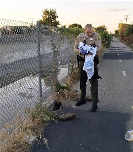 Nov. 27, 2015 file photo: Doctors say the baby might have died within hours, but she's now stable and healthy at a hospital. Officials are asking the unknown mother to come forward. (Los Angeles County Sheriff's Department via AP, File)