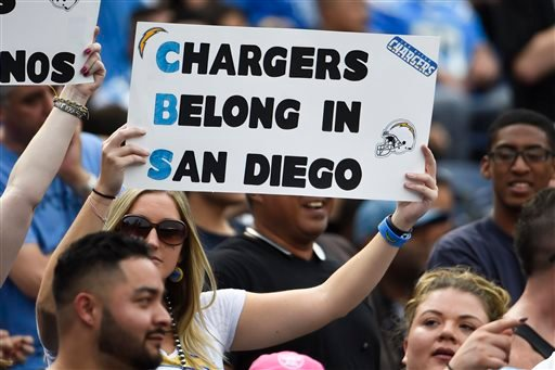 In this Oct. 25, 2015, file photo, a San Diego Chargers fan holds a sign against the team's relocation during the first half of an NFL football game against the Oakland Raiders, in San Diego.