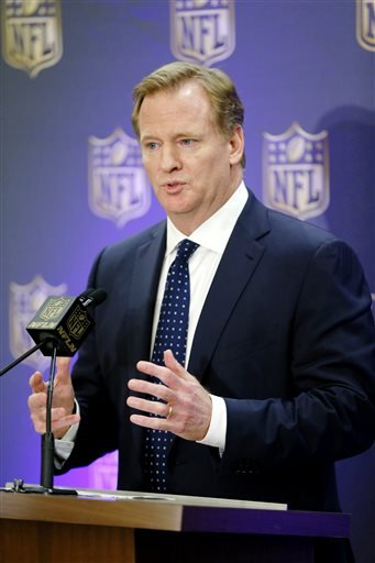 NFL Commissioner Roger Goodell holds a press conference after the NFL owners meeting in Irving, Texas, Wednesday, Dec. 2, 2015.