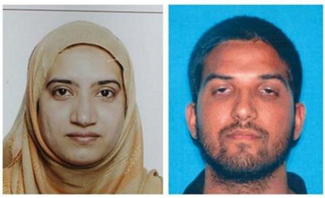 This undated combination of photos provided by the FBI, left, and the California Department of Motor Vehicles shows Tashfeen Malik, left, and Syed Farook. (FBI, left, and California Department of Motor Vehicles via AP)