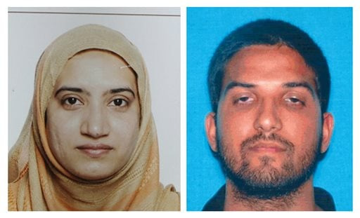 This undated combination of photos provided by the FBI, left, and the California Department of Motor Vehicles shows Tashfeen Malik, left, and Syed Farook. The husband and wife died in a fierce gunbattle with authorities several hours after their commando-