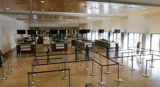 In this Wednesday, Nov. 25, 2015 photo, a security inspection station is seen at the Cross Border Xpress air terminal in San Diego.