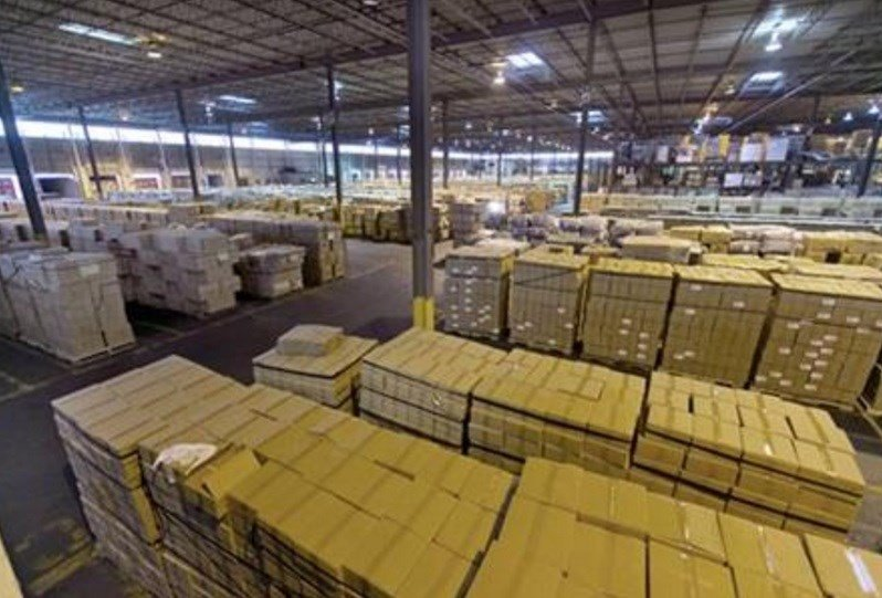 This Wednesday, Oct. 28, 2015 photo shows import shipments at H&M Terminals Transport Inc. warehouse in Kearney, N.J.