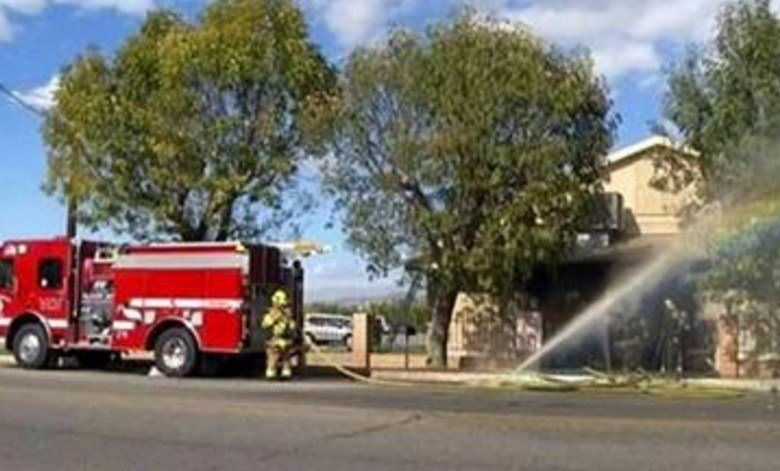 (KMIR-TV via AP) The fire was contained to the small building's front lobby, and no one was injured. Its cause is under investigation.