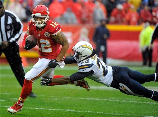 Kansas City Chiefs wide receiver Albert Wilson (12) gets past a tackle-attempt by San Diego Chargers cornerback Steve Williams (23) while running for a touchdown during the first half of an NFL football game in Kansas City, Mo., Sunday, Dec. 13, 2015. (AP