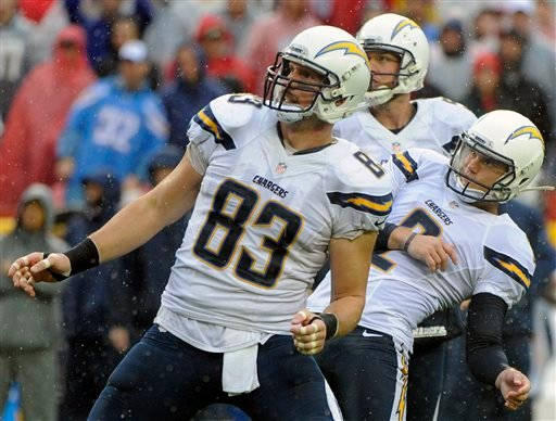 San Diego Chargers kicker Josh Lambo, right, with holder Mike Scifres, center, and tight end John Phillips (83) follow the trajectory of Lambo's missed field goal during the first half of an NFL football game against the Kansas City Chiefs in Kansas City,