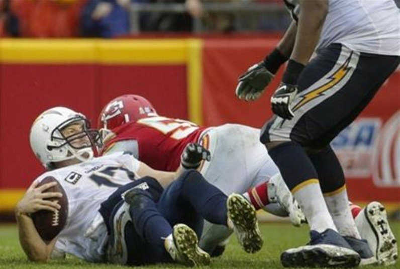 San Diego Chargers quarterback Philip Rivers (17) gets up after a sack by Kansas City Chiefs linebacker Dee Ford (55) during the second half of an NFL football game in Kansas City, Mo., Sunday, Dec. 13, 2015. The Kansas City Chiefs won 10-3. (AP Photo)