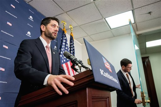 House Speaker Paul Ryan of Wis. speaks at a news conference on Capitol Hill in Washington, Wednesday, De. 16, 2015, following a GOP meeting. Congressional leaders girded to push a Christmas compromise on tax cuts and spending through the House and Senate