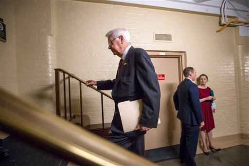 House Appropriations Committee Chairman Rep. Hal Rogers, R-Ky., joins other House Republicans for a closed-door strategy session on Capitol Hill in Washington, Wednesday, Dec. 16 2015, as lawmakers work to complete end-of-the-year business and pass a comp