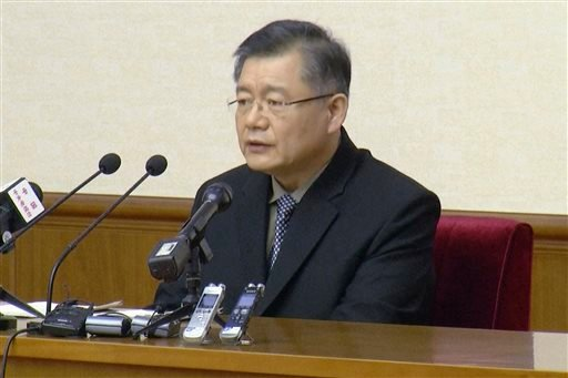 In this image made from July 30, 2015, video, Hyeon Soo Lim, who pastors the Light Korean Presbyterian Church in Toronto, speaks at a news conference in Pyongyang, North Korea. North Korea's Supreme Court on Wednesday, Dec. 16, 2015, sentenced a Canadian