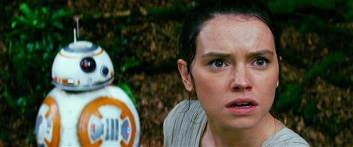 "This photo provided by Disney/Lucasfilm shows Daisy Ridley, right, as Rey, and BB-8, in a scene from the film, ""Star Wars: The Force Awakens,"" directed by J.J. Abrams. The movie opens in U.S. theaters on Friday, Dec. 18, 2015. (Film Frame/Disney/Lucasfilm"