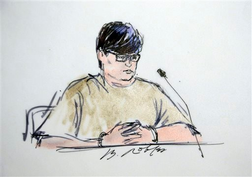 In this courtroom sketch, Enrique Marquez appears in federal court in Riverside, Calif., Thursday, Dec. 17, 2015.(AP Photo/Bill Robles)