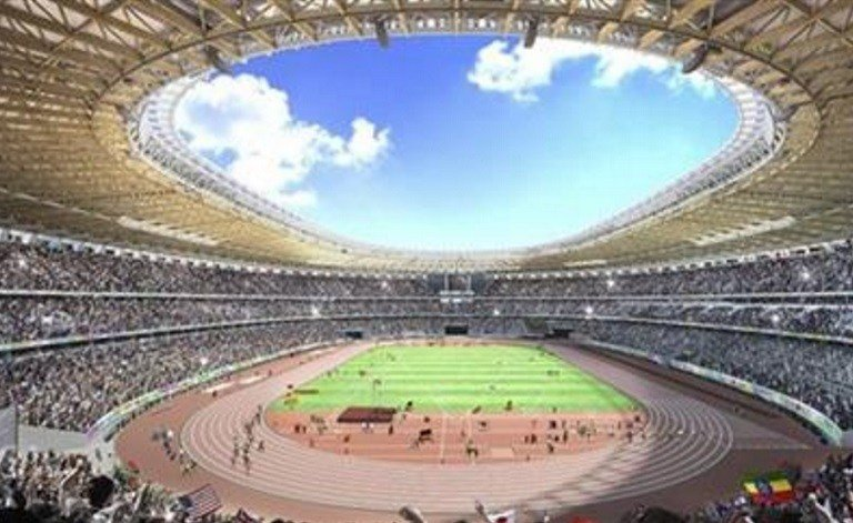 Japan has selected a new design for a lucrative construction of the main stadium.  (The Japan Sports Council via AP)
