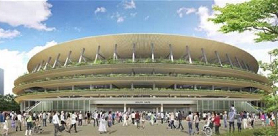 The government announced Tuesday, Dec. 22, 2015, that the winner is a design proposed by Kuma and construction companies. (The Japan Sports Council via AP)