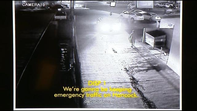 This is video image shows the scene of the officer-involved shooting on April 30, 2015 in the Midway District. This image was part of a news conference video presentation held Tuesday, December 22, 2015 by District Attorney Bonnie Dumanis.