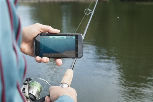 This undated photo provided by ReelSonar shows someone demonstrating the use of the iBobber. The iBobber fish finder attaches to your fishing line and floats on the surface of the water. Once you cast it, the iBobber can show you where fish are and how bi