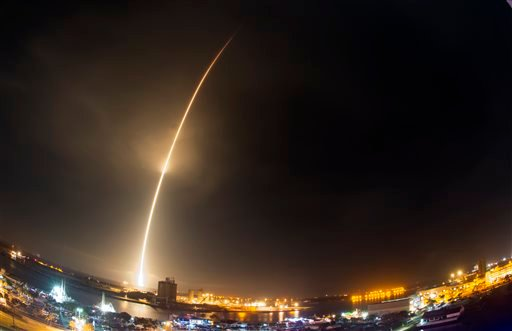The SpaceX Falcon 9 rocket lifts off at Cape Canaveral Air Force Station, Monday, Dec. 21, 2015.