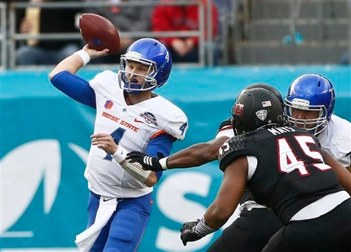 Boise State quarterback Brett Rypien throws a pass against Northern Illinois during the first half of the Poinsettia Bowl NCAA college football game Wednesday, Dec. 23, 2015, in San Diego. (AP Photo/Lenny Ignelzi)