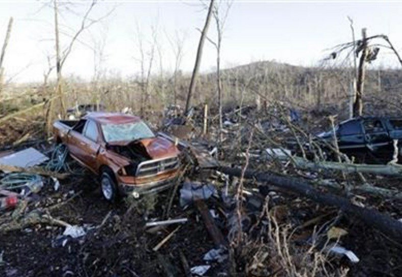Unseasonably warm weather spawned rare Christmastime tornadoes in the South. (AP Photo/Mark Humphrey)