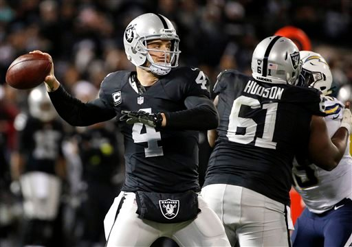 Oakland Raiders quarterback Derek Carr (4) passes against the San Diego Chargers during the first half of an NFL football game in Oakland, Calif., Thursday, Dec. 24, 2015. (AP Photo/Tony Avelar)