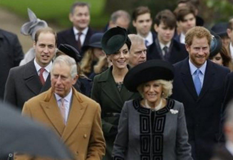n the foreground, Prince Charles, the Duke of Cornwall, Camilla, the Duchess of Cornwall, followed by from left, Prince William, the Duke of Cambridge, Kate, the Duchess of Cambridge and Prince Harry. (AP Photo/Matt Dunham)