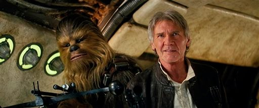 "This photo provided by Lucasfilm shows Peter Mayhew as Chewbacca and Harrison Ford as Han Solo in ""Star Wars: The Force Awakens,"" directed by J.J. Abrams. The movie opened in U.S. theaters on Dec. 18, 2015. (Film Frame/Lucasfilm via AP)"