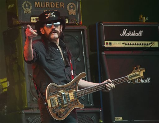 "This June 26, 2015 file photo shows Motorhead bassist Lemmy Kilmister performing on the Pyramid stage during Glastonbury Music Festival at Worthy Farm, Glastonbury, England. Ian ""Lemmy"" Kilmister, the Motorhead frontman whose outsized persona made him a h"