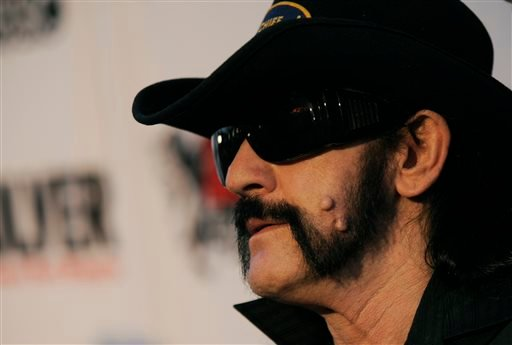 """This April 8, 2010 file photo shows Lemmy Kilmister, of Motorhead, arriving at the second annual Revolver Golden Gods Awards in Los Angeles. Ian """"Lemmy"""" Kilmister, the Motorhead frontman whose outsized persona made him a hero for generations of hard-rocke"""