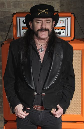 """This Nov. 13, 2012 file photo shows Lemmy Kilmister arriving for the Classic Rock Roll Of Honour Awards at the Roundhouse venue in Camden, north London. Ian """"Lemmy"""" Kilmister, the Motorhead frontman whose outsized persona made him a hero for generations"""