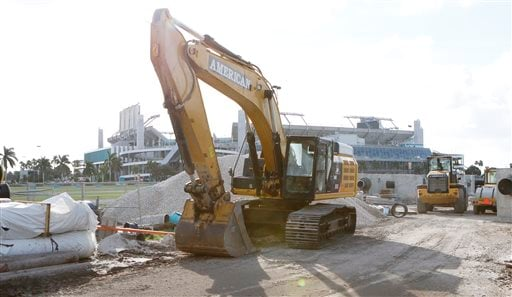 Construction equipment is shown in the parking lot of Sun Life Stadium Tuesday, Dec. 29, 2015, in Miami Gardens Fla. Oklahoma is scheduled to play Clemson in the Orange Bowl NCAA college football game on New Year's Eve.