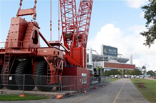 A large construction crane sits in the parking lot of Sun Life Stadium Tuesday, Dec. 29, 2015, in Miami Gardens Fla.