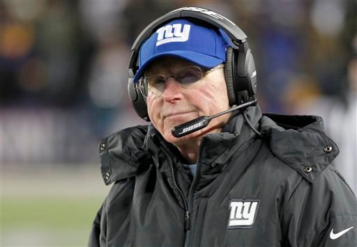 In this Sunday, Dec. 27, 2015, file photo, New York Giants head coach Tom Coughlin watches from the sidelines during the second half of an NFL football game against the Minnesota Vikings in Minneapolis.