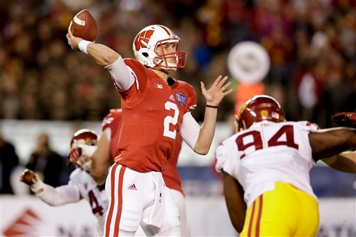 Wisconsin quarterback Joel Stave (2) throws a pass against Southern California during the first half of the Holiday Bowl NCAA college football game Wednesday, Dec. 30, 2015, in San Diego. (AP Photo/Gregory Bull)