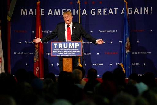 FILE -- In this Dec. 7, 2015 file photo, Republican presidential candidate, businessman Donald Trump, speaks during a rally coinciding with Pearl Harbor Day at Patriots Point aboard the aircraft carrier USS Yorktown in Mt. Pleasant, S.C. (AP Photo/Mic Smi