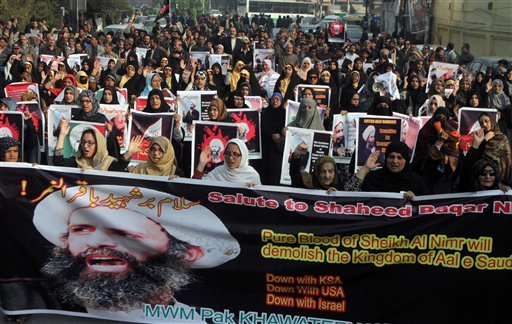Shiite Muslims take part in a rally to condemn the execution of Saudi Shiite cleric Sheikh Nimr al-Nimr, Sunday, Jan. 3, 2016 in Lahore, Pakistan. Saudi Arabia announced Saturday it had executed 47 prisoners convicted of terrorism charges, including al-Qa