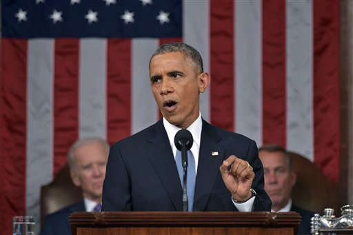 In this Jan. 20, 2015 file-pool photo, President Barack Obama delivers his State of the Union address to a joint session of Congress on Capitol Hill in Washington. President Barack Obama is returning to the rancor of the nation's capital Sunday after two